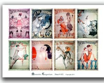 La Vie Parisienne Paris Life Digital Collage Sheet Download French Belle Epoque Decoupage ATC ACEO size Antique Shabby Chic 431