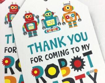 Robot Party Favor Tag / Robot Favor Label - Printable Robot Favor Tags - Kids Party Favor Tags