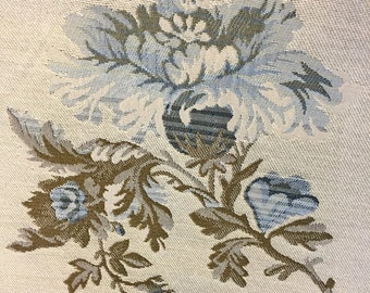 Floral Tapestry Fabric  Wedgewood Blue Traditional Leaves and Flowers in Shades of Blue and Beige - Designer Fabric - Upholstery 1 yard