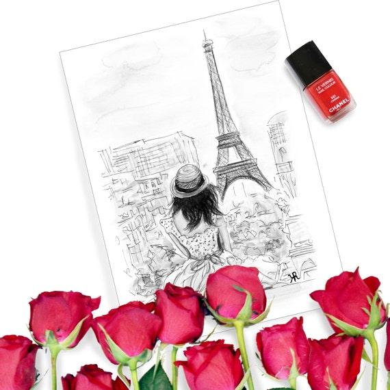 Print of Original Paris Watercolor, fashion print, vintage glamour print, Paris Print, Eiffel Tower Print, Paris Art, Paris Print