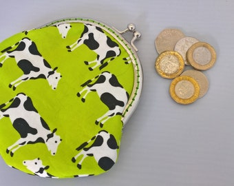 Cow Coin Purse, Friesian Cow Small Money Purse, Fabric Purse, Black and White Cow Purse, Money Pouch, Headphone Pouch, Birthday Gift