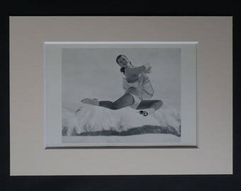 Antique Figure Skating Print of Barbara Ann Scott, Ice Skater Decor, Winter Olympics Gift, Sports Wall Art Retro Skate Art Sport Photography