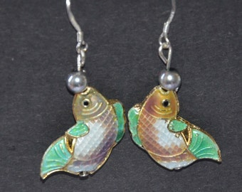 A Set of Cloisonne and Beaded Earrings - Koi Fish