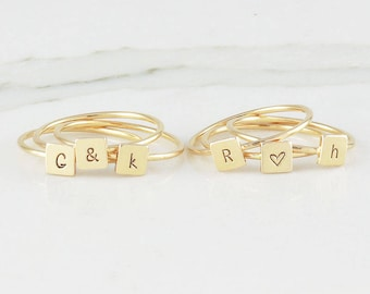 Dainty Gold Fill Square Initial Ring, Personalized Ring, Stacking Ring, Customized Initial Ring, 14 k Gold Filled Ring ( HCR Sq 5MM )