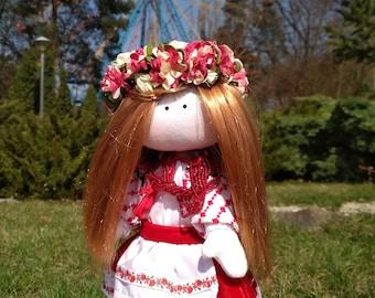 Ukrainian handmade tilda doll Vyshyvanka hand embroidered blouse Folk costume Traditional clothes Medieval female Ethnic casual style Toys