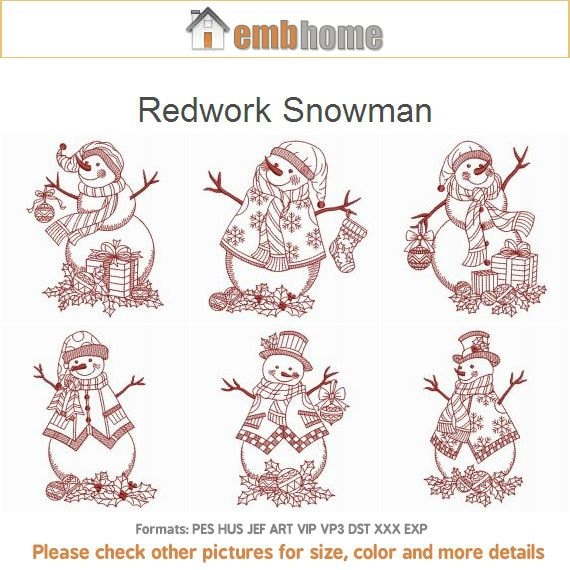 Redwork snowman christmas holiday machine embroidery designs for Embroidery office design version 9