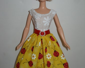 Homemade Barbie clothes - yellow and red ladybugs print dress