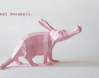 Aardvark / antbear DIY papercraft template Annabell BIG