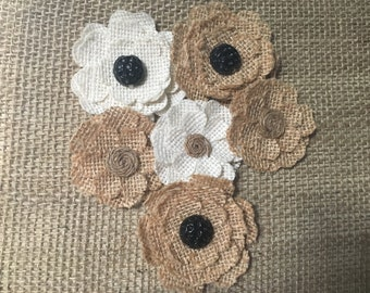 Magnetic Burlap Flowers (Set of 6), rustic, wedding decor, burlap and button magnet, gift under 20, memo board magnet, burlap flower magnet