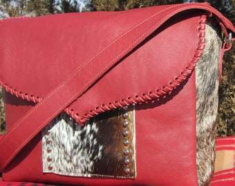 Leather Purse, Cow Hide, Hair on, Red Leather, Cowgirl, Western