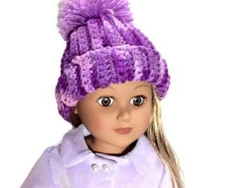 Purple Doll Hat, Crocheted Beanie, 18 Inch Doll Clothes, Purple Hat with Pom Pom, Winter Doll Clothes