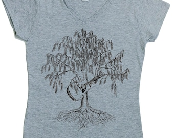 Womens V-neck Tshirt - Acoustic Guitar Tshirt - Musician Gift - Guitarist Gift - Funny Womens T shirt - Trees Forest Bluegrass Country Music