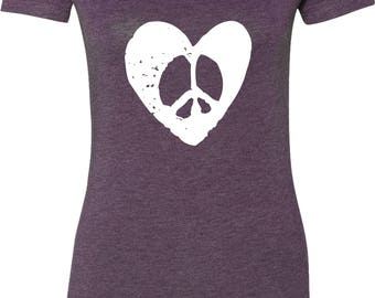 Ladies Hippie Heart Peace Scoop Neck Shirt HEARTPEACE-6730