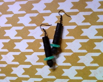Black and Teal Ethnic Inspired Earrings (2144)