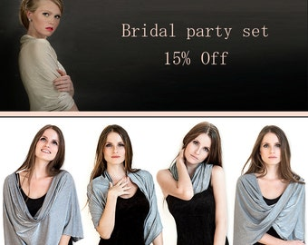 Wedding Shawls, Set Of 5 Glittering Cover Ups, Bride And Bridal Party Wraps. 4 Wearing Options- Shrug, Shawl, Twisted Shawl And A Scarf