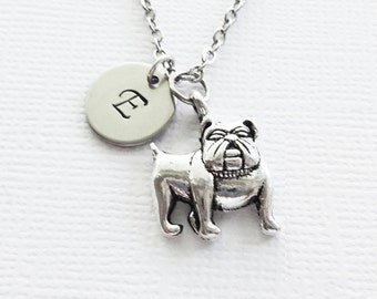 Bulldog Necklace Pug Puppy Boston Terrier Dog Canine Animal BFF Friend Birthday Silver Jewelry Personalized Monogram Hand Stamped Letter