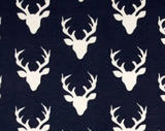 Snack Bags Navy BUCK DEER ANTLERS Re-Usable Washable with Closure Options