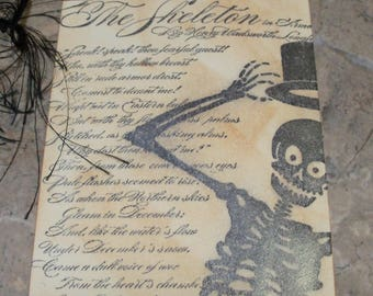 Gift Tags-Vintage Style Skeleton Gift Tag-Halloween Gift Tags-Custom Ink Distressed by Hand-4 Extra Large Tags