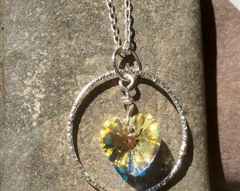 Sterling Silver Pendant Necklace with Swarovski Crystal Heart