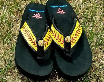 Softball Flip Flops  Sandals  -Sizes  Small 4/5, Med. 6/7, Large 8/9, XL 10/11