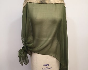 Asymmetric Green Silk Chiffon Poncho, Light Weight, Wrap, Plus Size, One Size, Eyelashis Trim, Shawl, Cape