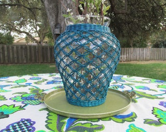 Vintage Wicker Wrapped Vase