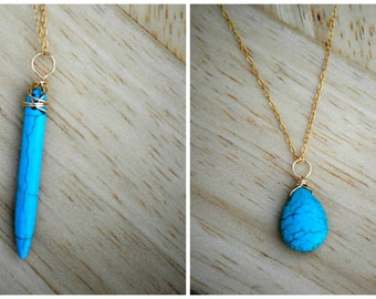 Turquoise pendant 30 inch necklace, long pendant necklace, long layering necklace, bridesmaid gift, bridesmaid necklaces