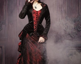 Victorian walking costume bustle skirt