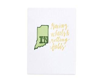 Indiana Letterpress State Print // 1canoe2 // Hand illustrated