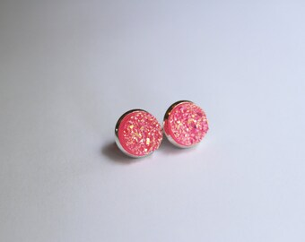 Pink Rainbow Faux Druzy Glitter Earrings - Posts/Studs 12mm LARGE (D32) - Gifts for Her, Women, Teens, Under 20, Under 10, Stocking Stuffer