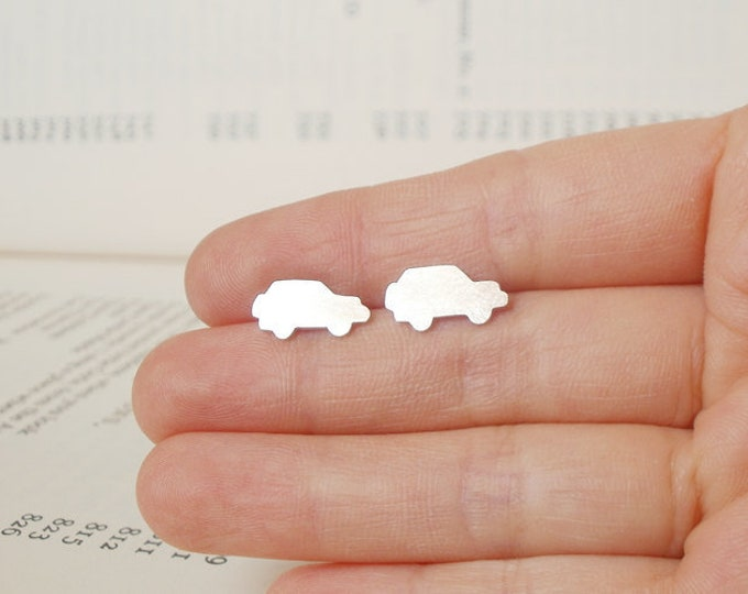 Sterling Silver Mini Car Ear Studs Land Rover, Handmade In England