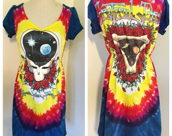 Grateful Dead T Shirt, Grateful Dead T Shirt Dress, repurposed t shirt, repurposed t shirt dress, tie dye dress, hippie dress, boho dress,