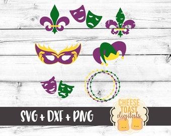 Mardi Gras Svg, Mardi Gras Bundle, Mardi Gras Mask Svg, Mardi Gras Wreath, Mardi Gras Beads, Fleur De Lis Svg, Svg for Cricut, Silhouette