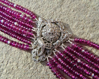 Multi Strand Gemstone Bracelet, Repurposed Deco Brooch Bracelet, Repurposed Deco Jewelry, Rhodolite Garnet Cuff, Purple Garnet Bracelet