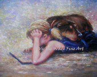 Girl Reading Art Print blond girl, dog and girl, mans best friend, dog, Vickie Wade Art