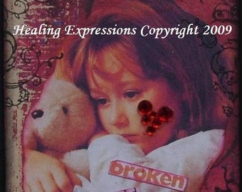 WOUNDED SILENCE altered art collage child abuse grief innnocence trauma ptsd did therapy AcEO AtC PRiNT