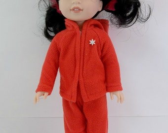 "Doll Outfit for 14.5"" Doll Red Fleece HoodedJacket and Pants Set Fits Wellie Wishers Hearts 4 Hearts and Similar Dolls"