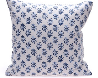 8 x Blue block print Cushions