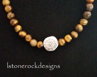Jasper Sunray Pendant Beaded Necklace