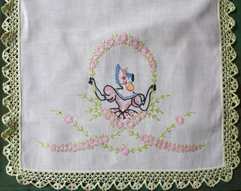 Pastel Vintage Embroidered Table Runner with Crochet Edging, Vintage Linens, Dresser Scarf, Floral Embroidered Tablerunner