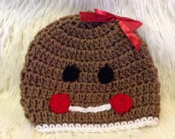 Crochet gingerbread beanie hat, gingerbread, baby gingerbread