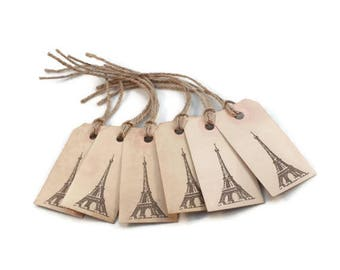 Gift Tags, Eiffel Tower, Favor Tags, Tea Stained, Grungy Tags, Party Favors, Organization Tags, Primitive Tags, Merchandise Tags, Hang Tags