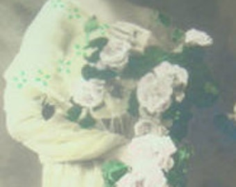 SALE Lovely Hand Tinted RPPC of a Lady Holding Flowers