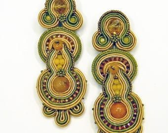 Soutache Earrings , embroiderd textile jewels , long  earrings, light earrings, statement earrings, caramel green earrings, soutache bijoux