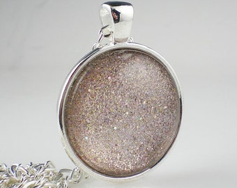 Sparkly Pale Pink Nail Polish Necklace OPI Ce-less-tial is More Nail Polish Jewelry