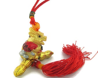 Vintage Feng Shui Gold lucite Horned Cow  Lucky Cow and Peanuts Money Cow Mystic Knot Silk Cord  Tassel Hanger Zipper Pull Purse Charm