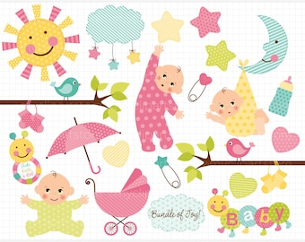 Clipart - New Baby Girl / Baby Announcement - Digital Clip Art (Instant Download)