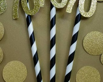 Paper Straws / 70th Birthday Decorations / 70th Birthday Party Straws / 70th Party Supplies / Paper Party Straws / 70th Decorations