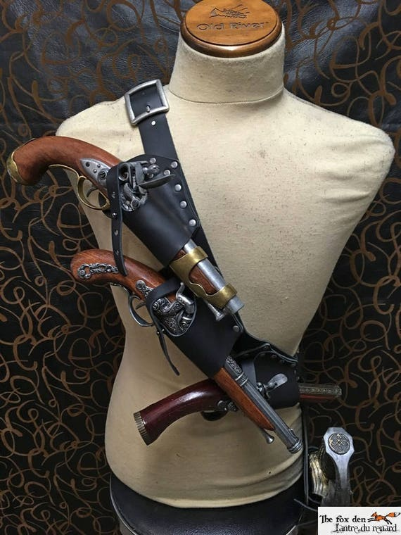 Pirate baldric holster kit for 3 flintlock pistol with