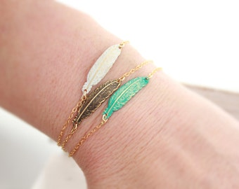 Feather Bracelet, Feather Jewelry, Turquoise Feather Bracelet, Gold Feather Bracelet, 14k Gold Filled Bracelet, Stacking Bracelet